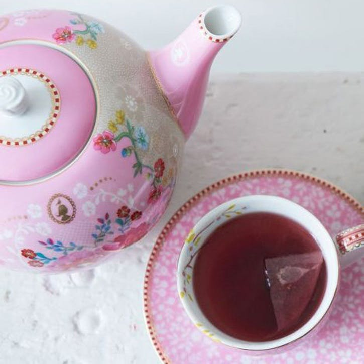 PiP Floral 2.0 Early Bird Cappuccino Cup & Saucer, Pink