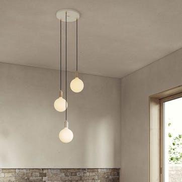 Canopy & Sphere Bulb Triple Ceiling Plate & Pendant Set L400 x W25cm White & Brass