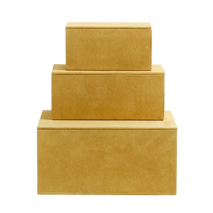 Suede Storage Boxes, Mustard, Set of 3