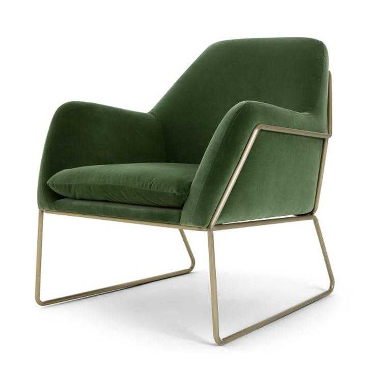 Frame Cotton Velvet Armchair; Grass Green