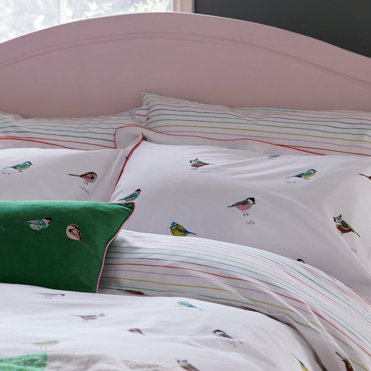 Great British Birds Oxford Pillowcase, Chalk