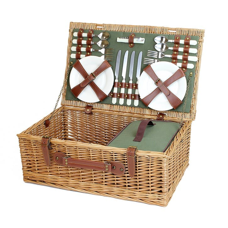 Country Fitted Picnic Hamper, 4 Person, Sage Green