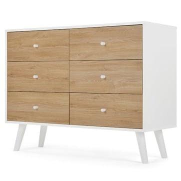 Larsen Wide Chest Of Drawers, Oak and  White