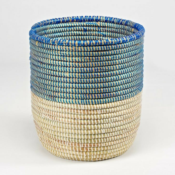 Handwoven Wastepaper Basket; Two Tone Blue