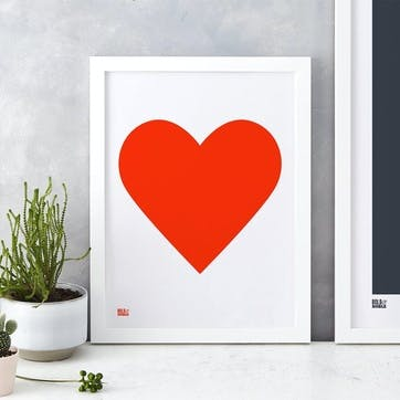 Love Heart Print; Neon Red on White