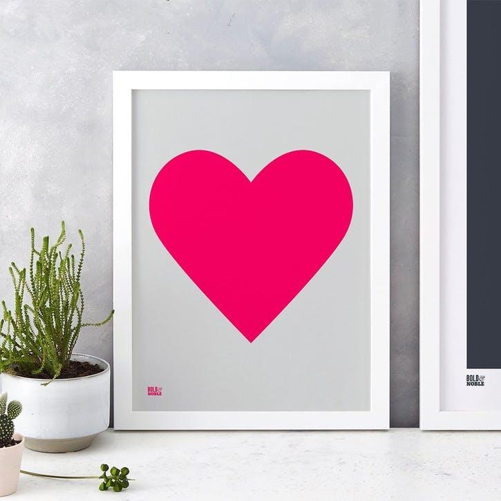 Love Heart Print; Neon Pink on Light Grey
