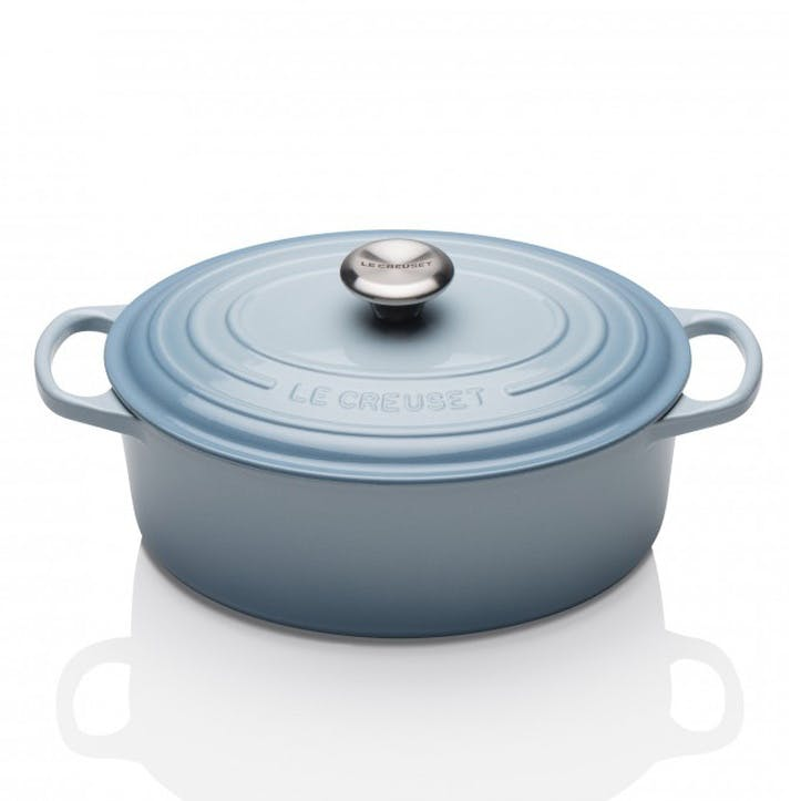 Cast Iron Oval Casserole - 27cm; Coastal Blue