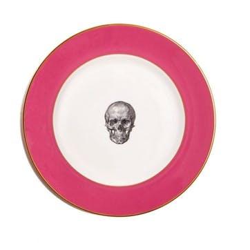Rock and Roll Skull Dinner Plate, Raspberry Pink
