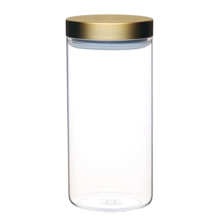 Metallics Airtight Large Glass Food Storage Jar with Brass Lid