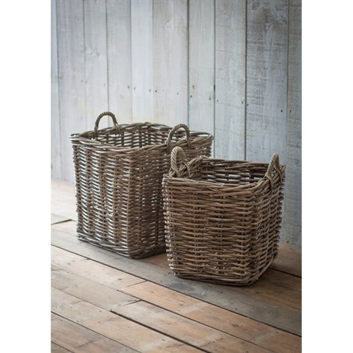 Rattan Set of 2 Square Log Baskets