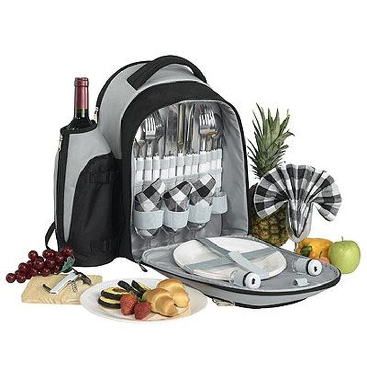 4-Person Picnic Backpack, Black & Silver