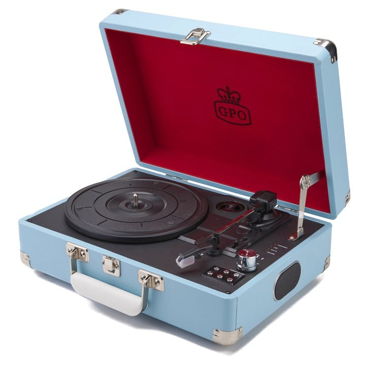 Attaché Case Turntable; Sky Blue