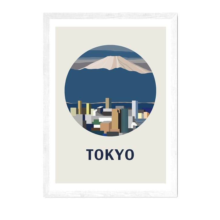 Uzual Sunday, Tokyo Circle, Framed Art Print, H44 x W37 x D2cm, White