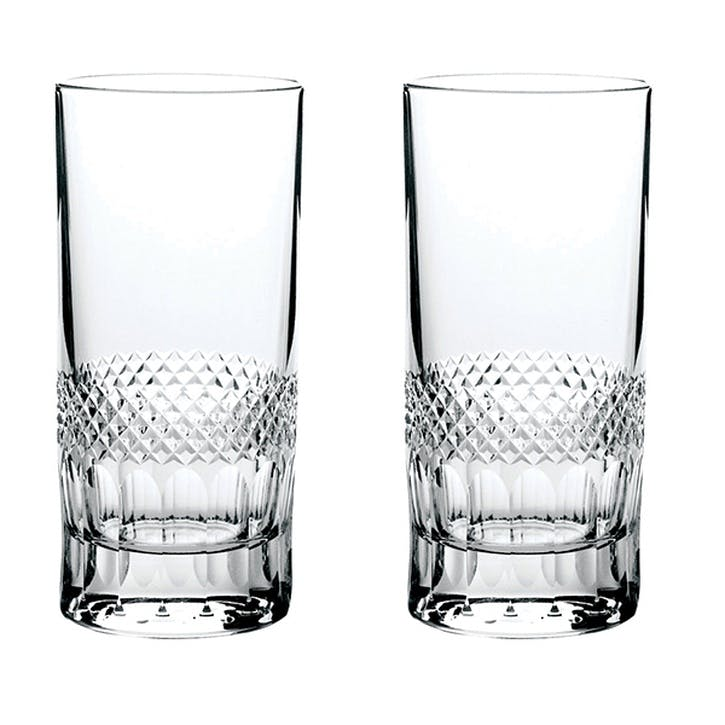 Diamonds Tall Crystal Tumblers, Set of 2
