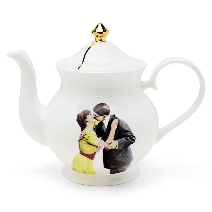 Modern Surrealist Kissing Couple Teapot, 6 Cup