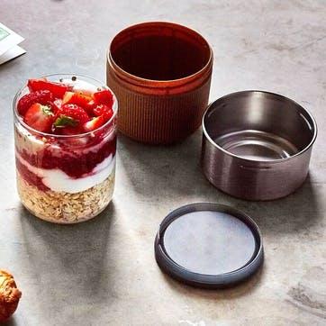 Glass Lunch Pot, 450ml, Almond