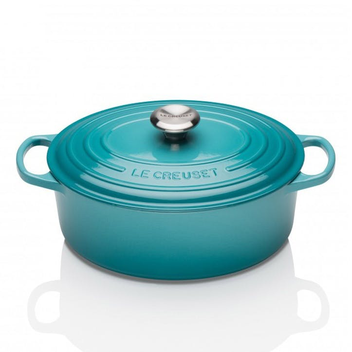 Cast Iron Oval Casserole - 25cm; Teal