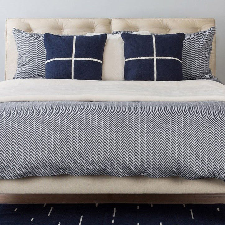 Herringbone Navy Grey Super King Duvet Cover