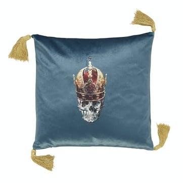 Skull in Crown Velvet Cushion, Blue