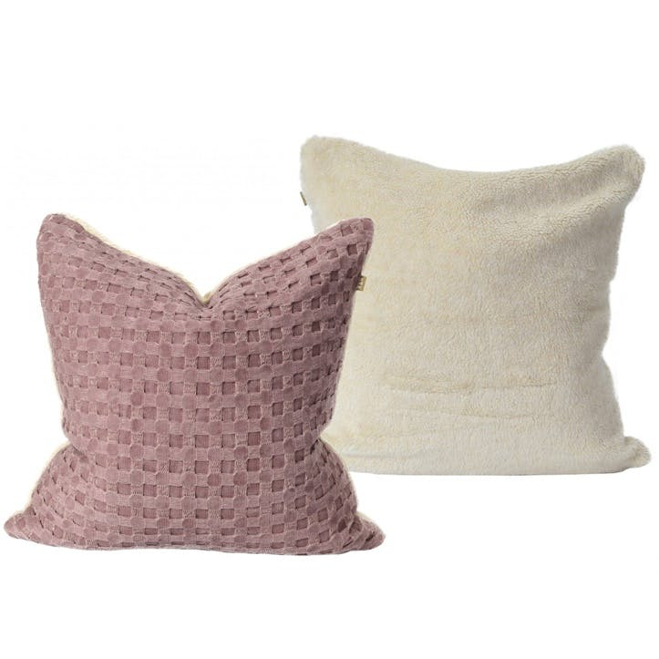 Waffle Cushion with Sherpa Fleece, Pink