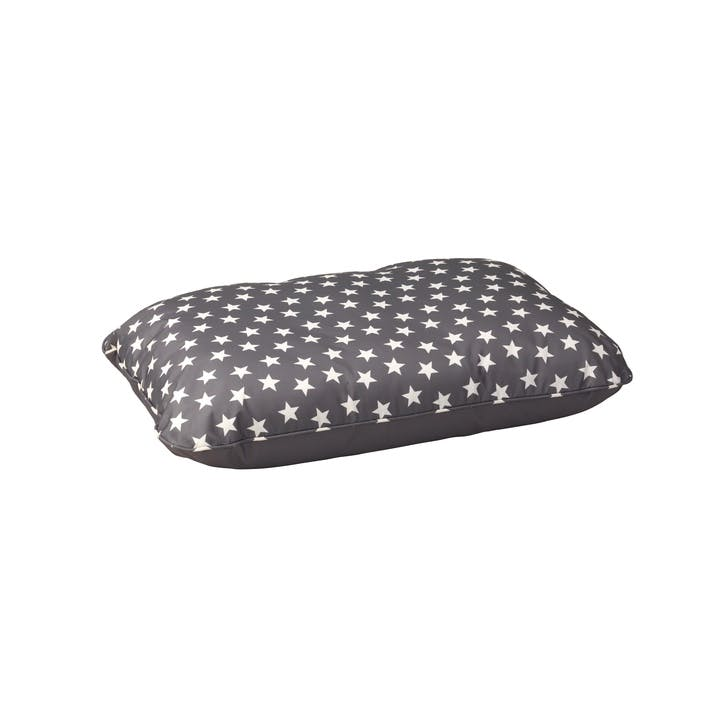 Star Print Water Resistant Cushion, S/M, Grey