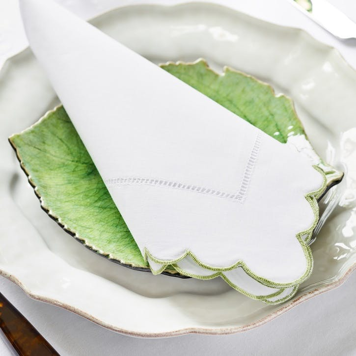 Green Scallop Hand Embroidered Napkins, Set of 4