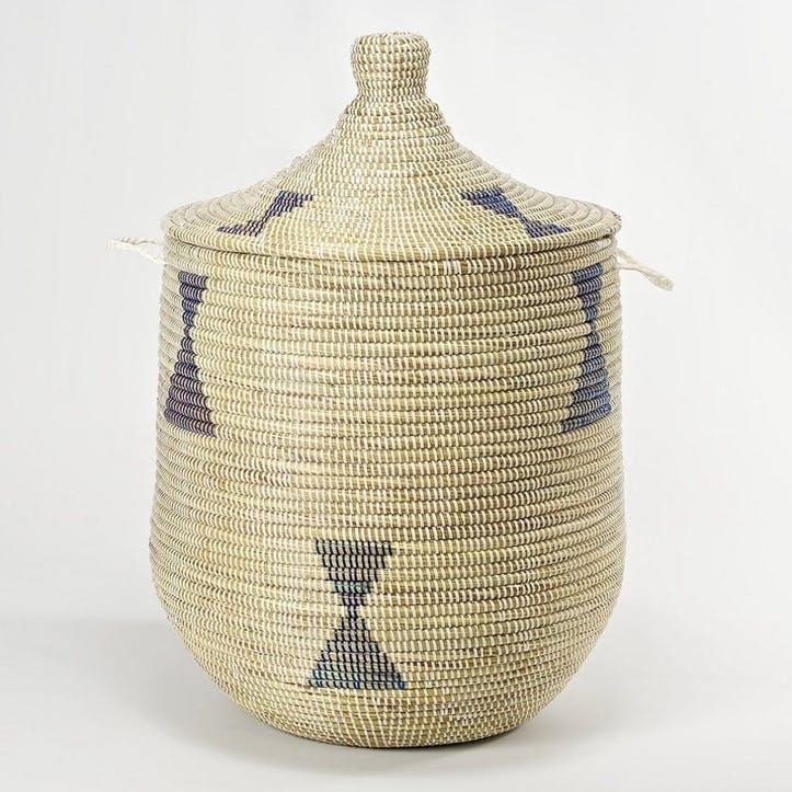 Ali Baba Laundry Basket, Large, Natural/ Blue Diamonds