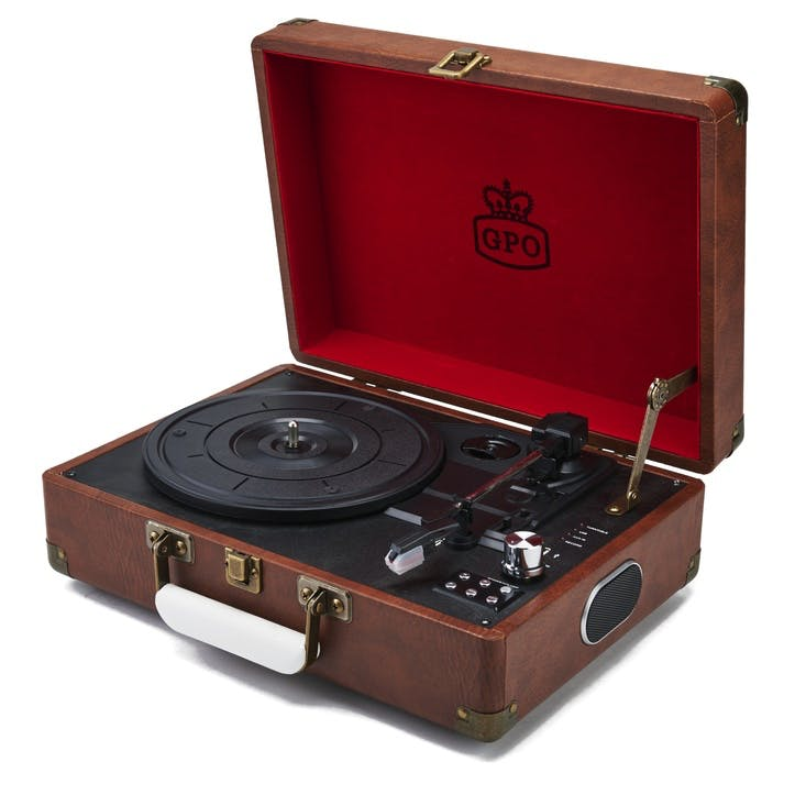 Attaché Case Turntable; Vintage Brown