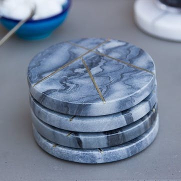 Marble Coasters With Brass Insert Detailing, Set of 4, Grey