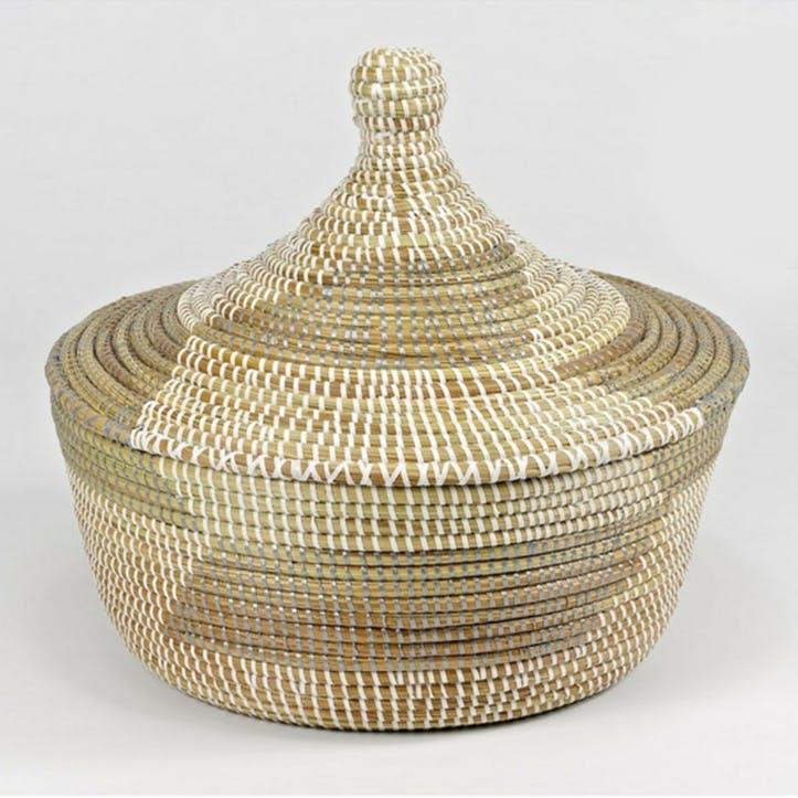 Small Ali Baba Basket, Natural/ Grey