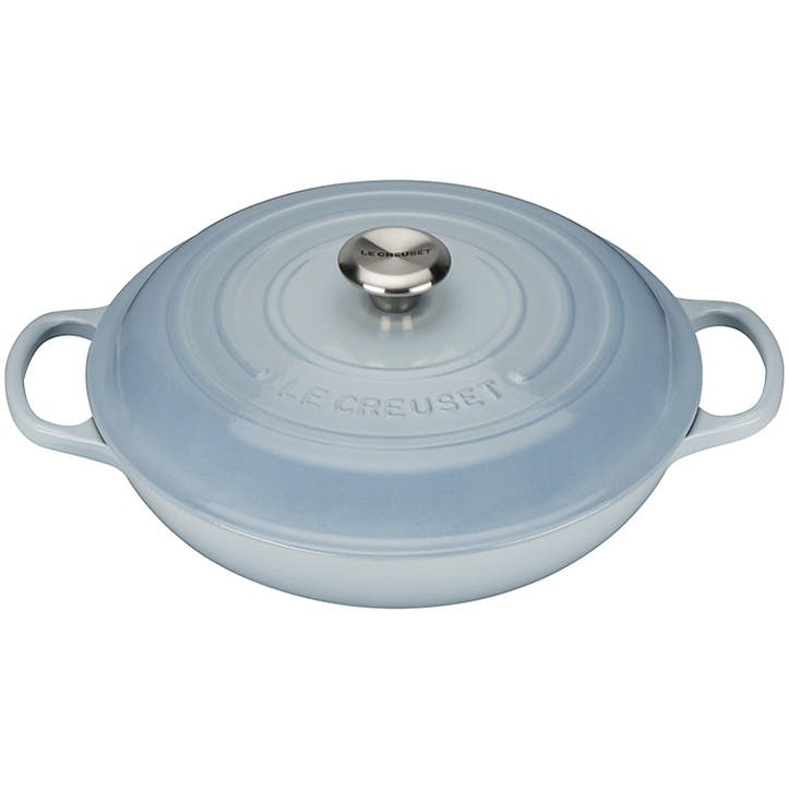 Cast Iron Shallow Casserole - 26cm; Coastal Blue