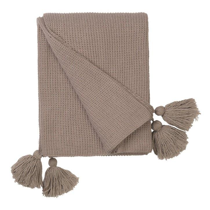 Cotton Knit Tasselled Throw, Magnolia