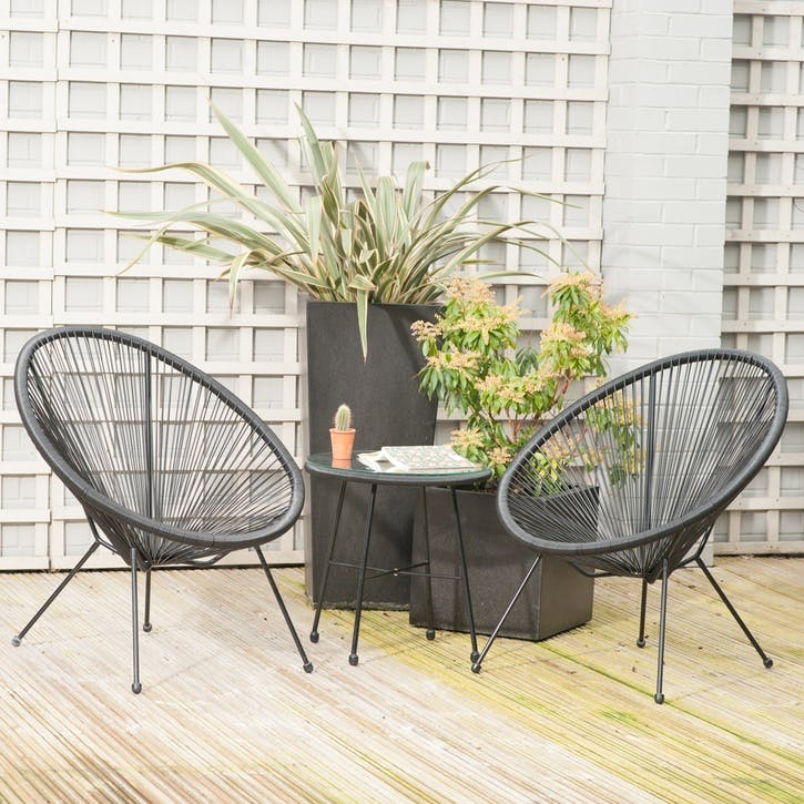 Rio 3 Piece Bistro Set, Black