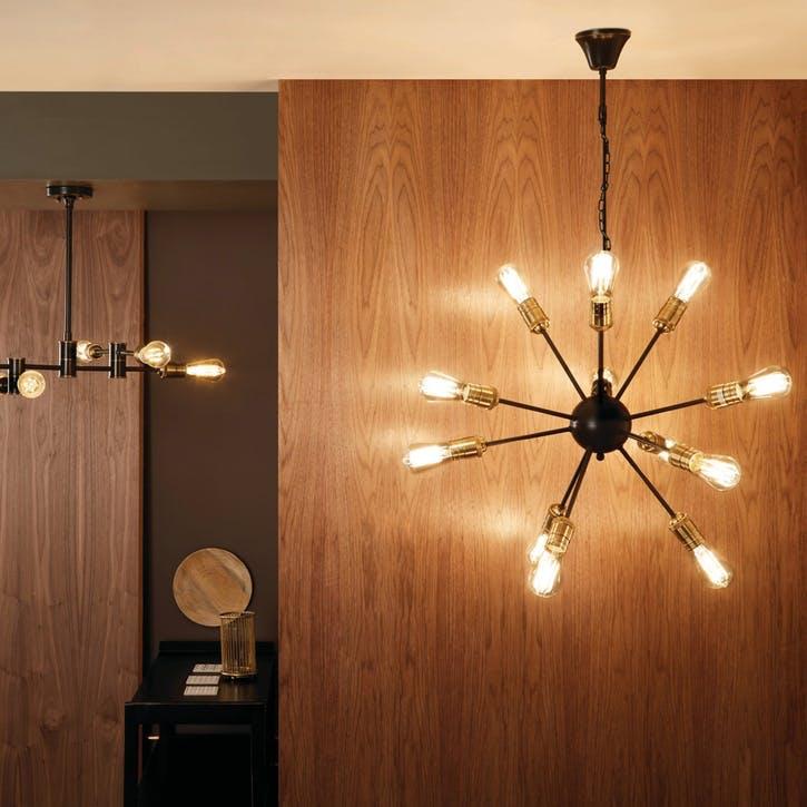 Aquila Twelve Light Sputnik Pendant; Black & Brass