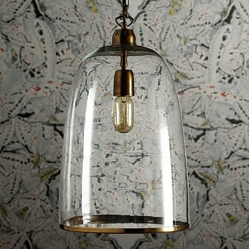 Percy Pendant Light in Clear Glass, Regular