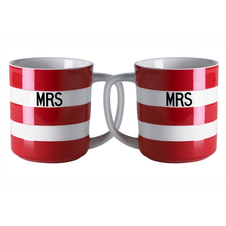Set Of 2 'Mrs & Mrs' Mugs, 10oz/28cl, Red