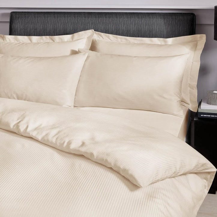 300TC Satin Stripe King Bedding Set, Cream