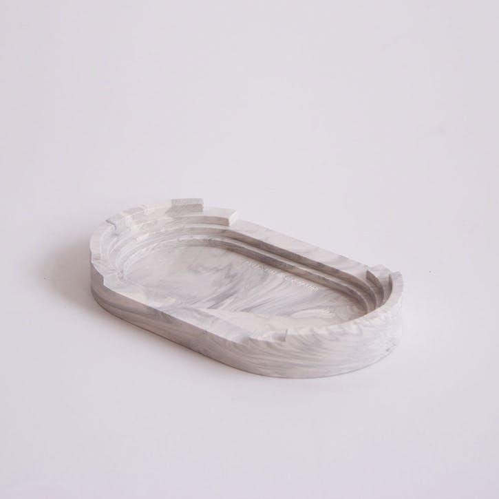 Scala Long Tray, White Marble