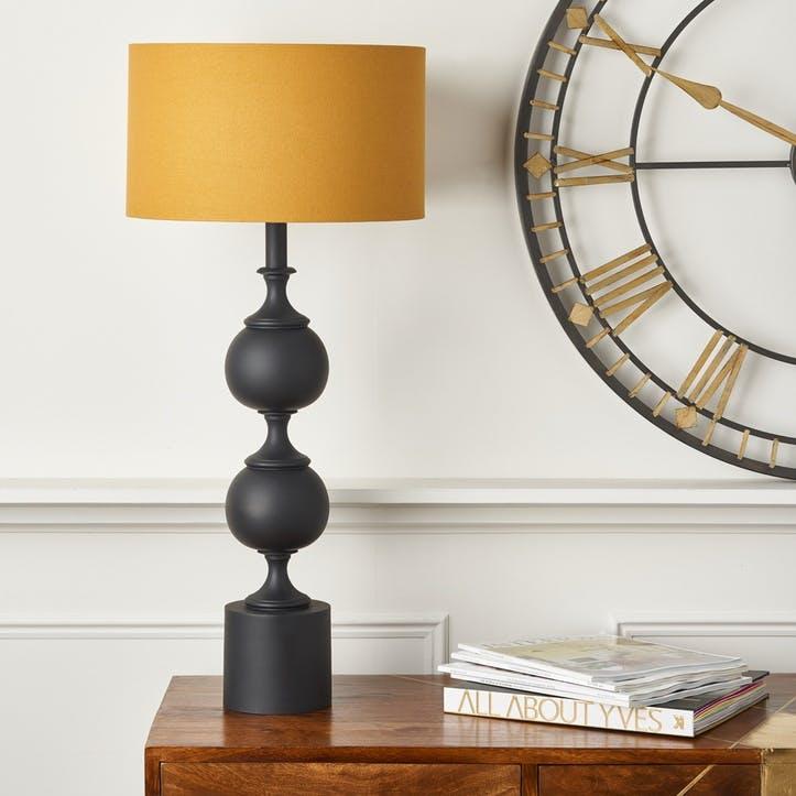 Tall Sculptural Lamp, Matte Black and Mustard