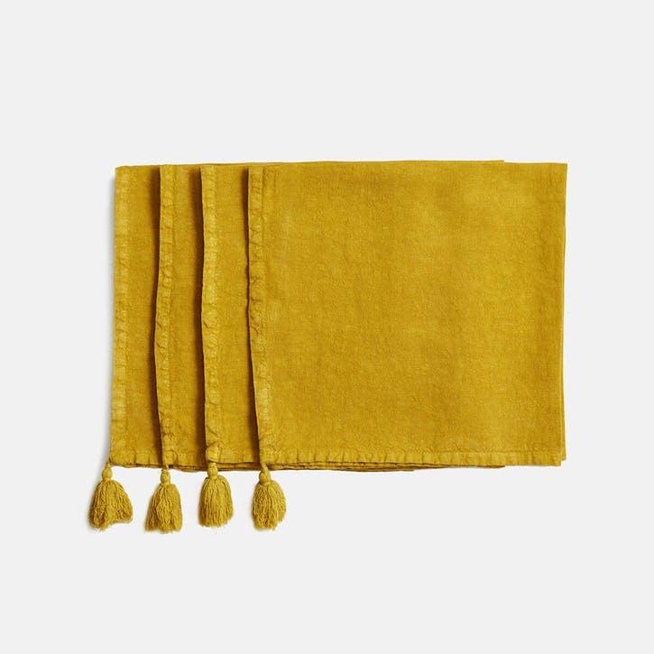 Rosa Linen, Set of 4 Napkins, Mustard