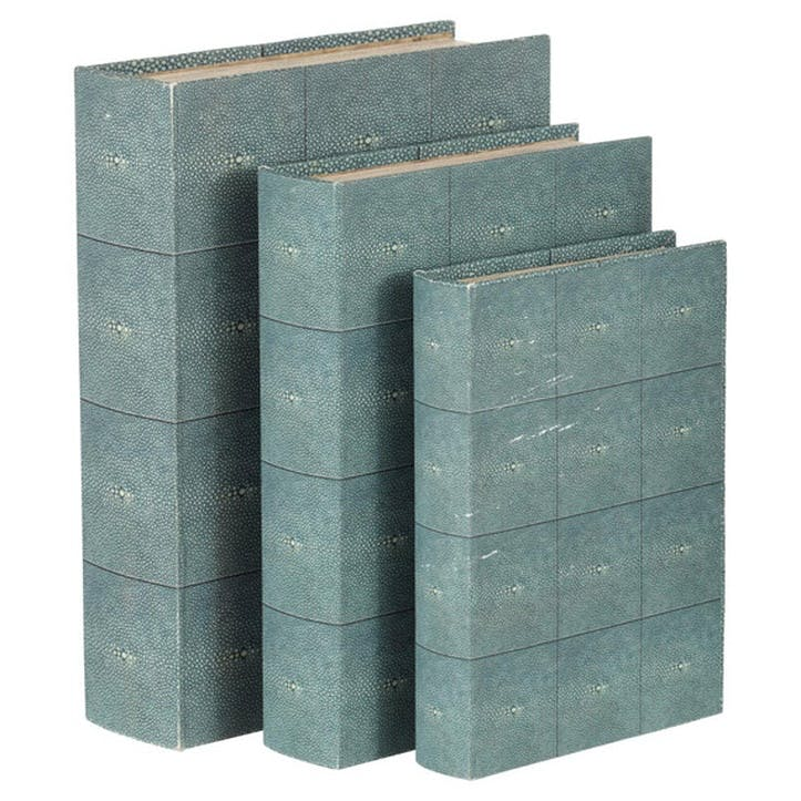 Faux Shagreen Turquoise Box Files, Set of 3