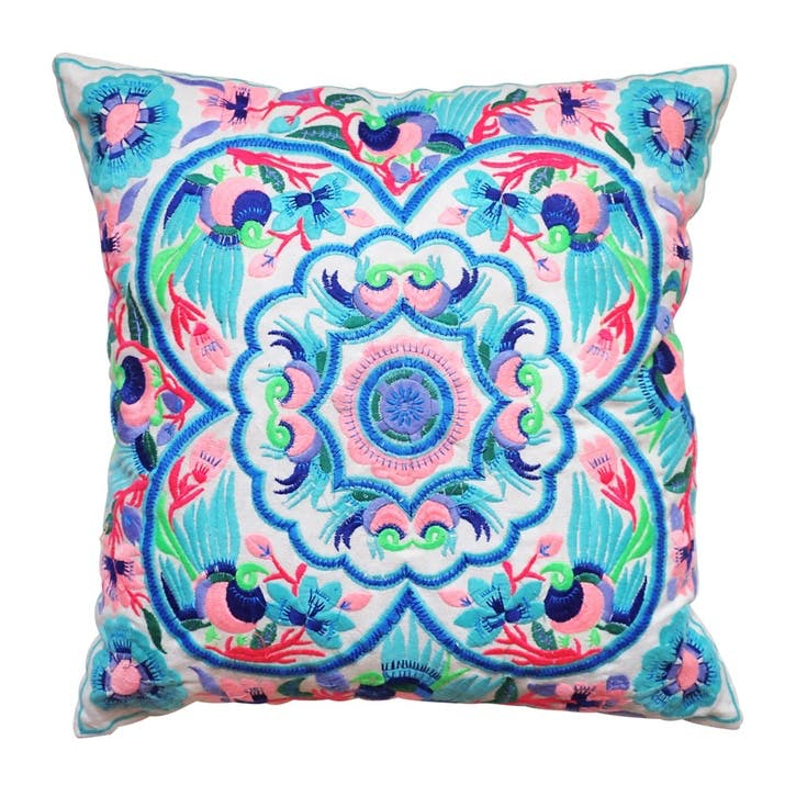 Acapulco Embroidered Cushion, 40cm, Blue/ Pink