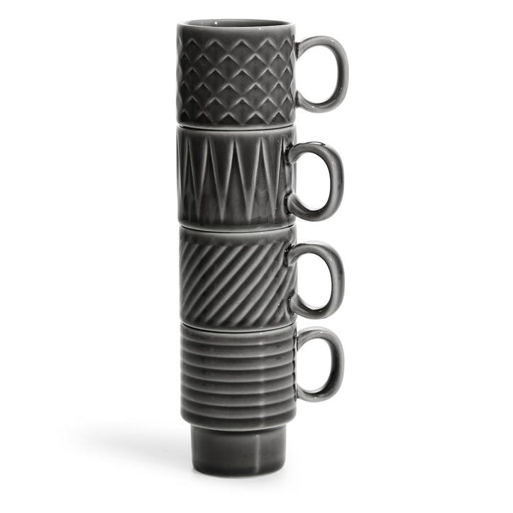 Coffee & More, Espresso Mug, Set of 4 Grey