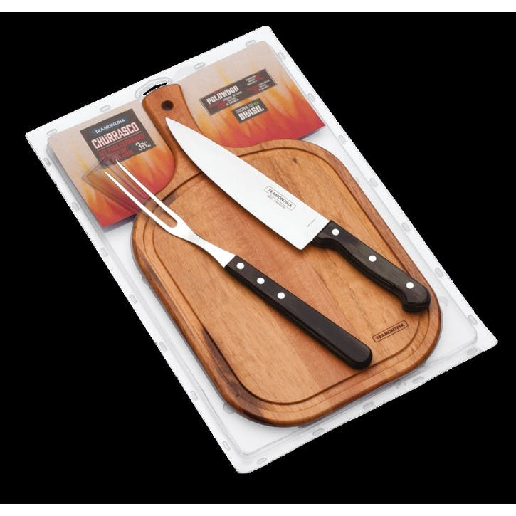 Barbecue Set, Rounded Board, 3 Piece