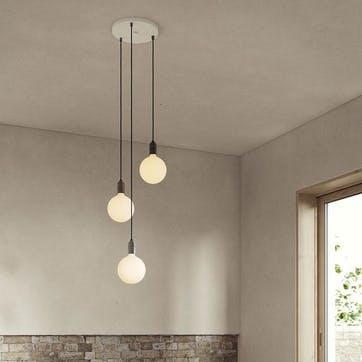 Canopy & Sphere Bulb Triple Ceiling Plate & Pendant Set L400 x 25cm White & Graphite