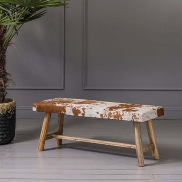 Cow Hide Bench, Tan and White