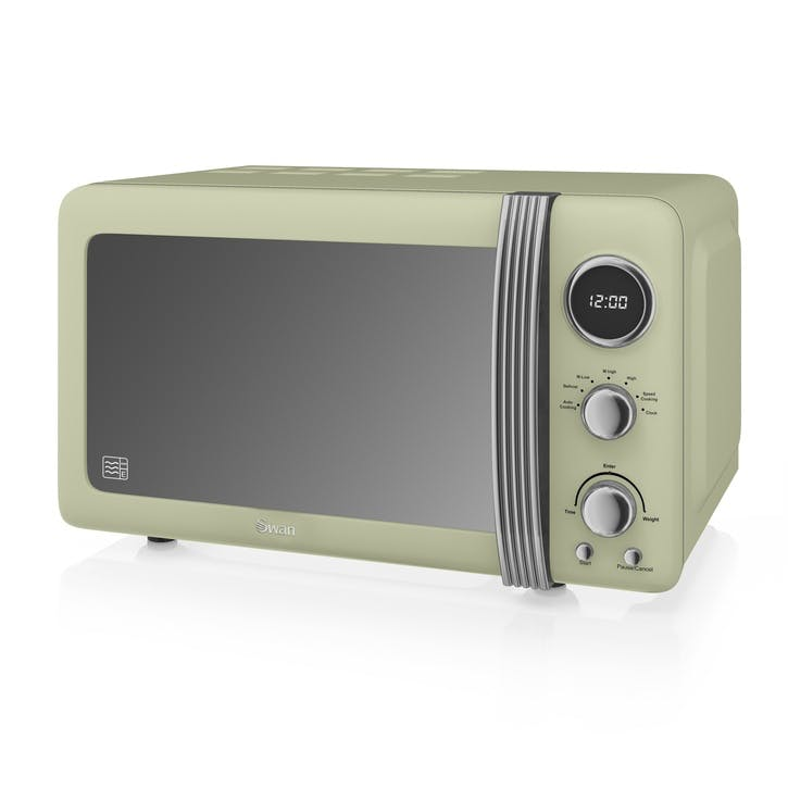 Retro 800W Digital Microwave, Green