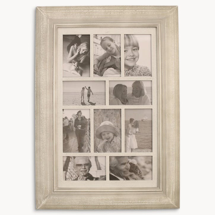 10 Aperture Large Hanging Photo Frame, Distressed Grey