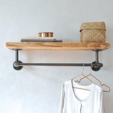 Portobello Industrial Clothes Shelf - 65 x 27cm; Natural