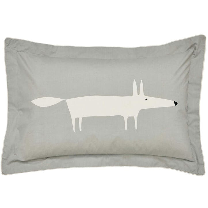 Mr Fox Oxford Pillowcase, Silver